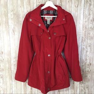 London Fog Red Rain Jacket with Drawstring Waist M